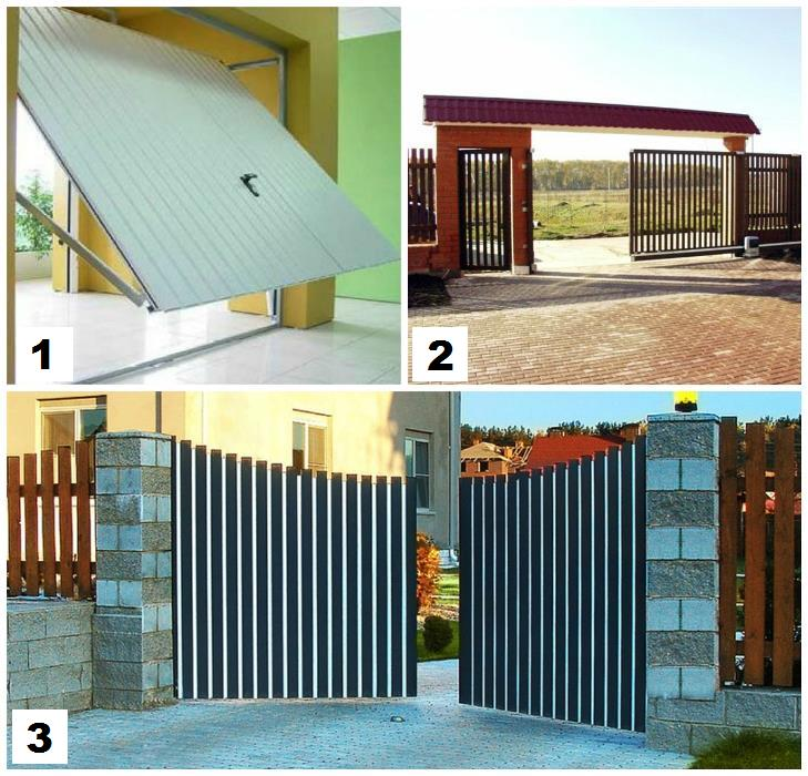 Виды ворот: 1 – подъемно-повортные; 2 – откатные; 3 – распашные;