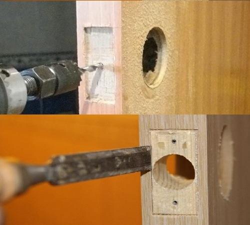 Сверление двери для установки фурнитуры