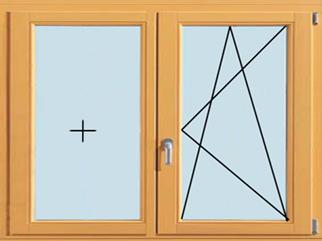 Поворотно-откидное евроокно, открываемое в двух указанных направлениях