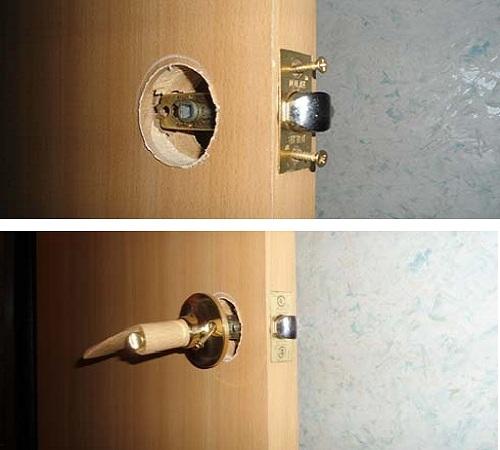 Установка ручки в дверь и последующее её крепление