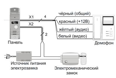 Схема присоединения видеодомофона к электромеханическому замку