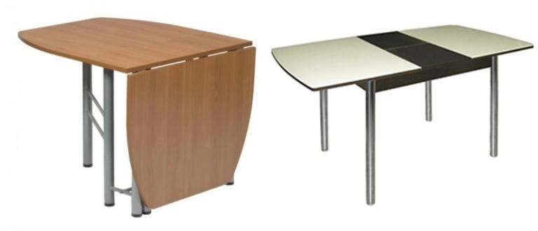 Системы раскладывания: стол-книжка (слева) и раздвижной стол (справа)