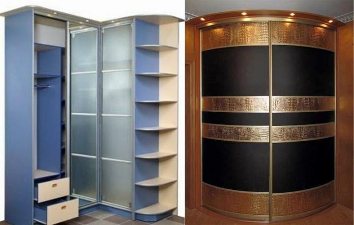 Необычные виды шкафов: угловой (слева) и радиусный (справа)