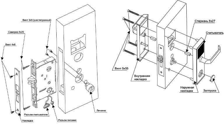 Схема монтажа электромеханического замка внутрь двери