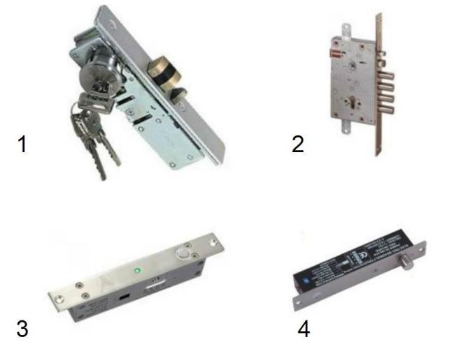 Электромеханические замки ригельного типа: 1 – Atis; 2 – Cisa; 3 - Yli; 4 - Viatec