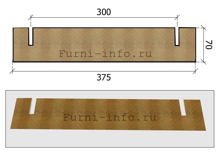 Чертеж накладки, устанавливаемой вдоль плиты