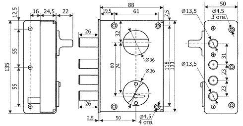 Устройство сувальдного накладного замка с 4 ригелями