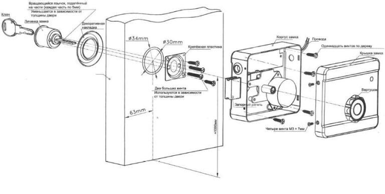 Полная схема монтажа цилиндрового замка