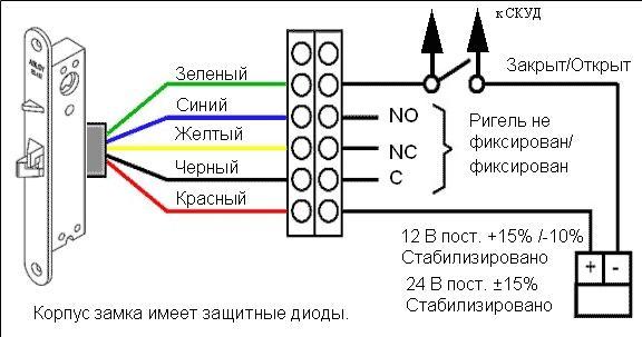 Подключение электромеханического замка к питанию