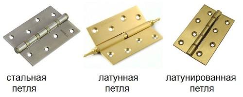 Дверные петли из различных материалов