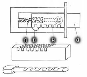 Устройство реечного замка с одним засовом (ригелем)