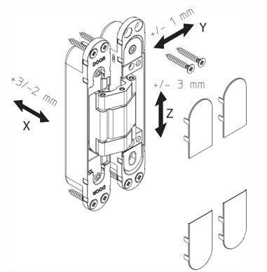 Винты для регулировки дверной внутренней петли