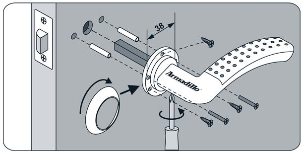Способ установки ручки с отдельными отверстиями под «квадрат» и болты