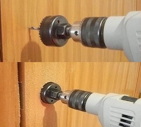Сверления отверстия пол ручку с помощью сверла с коронкой