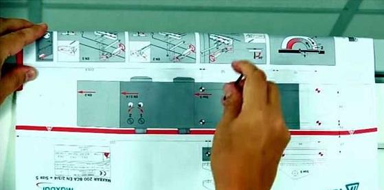 Определение мест расположения крепежных болтов по шаблону