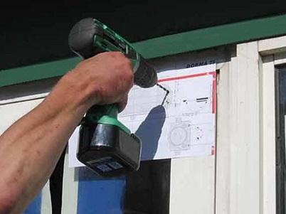 Подготовка отверстий для крепления устройства