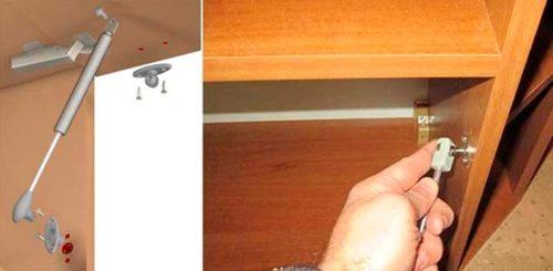 Крепление системы газлифт к корпусу мебели