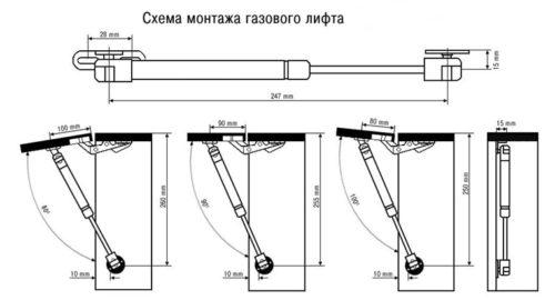 Инструкция по монтажу системы газлифт с разными углами открывания