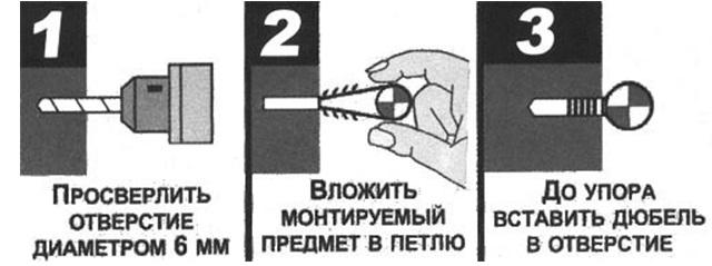 Инструкция по монтажу пластикового дюбель-хомута скобы
