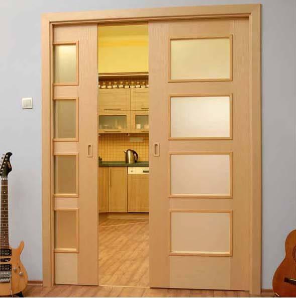 Раздвижные двери, вмонтированные в стену