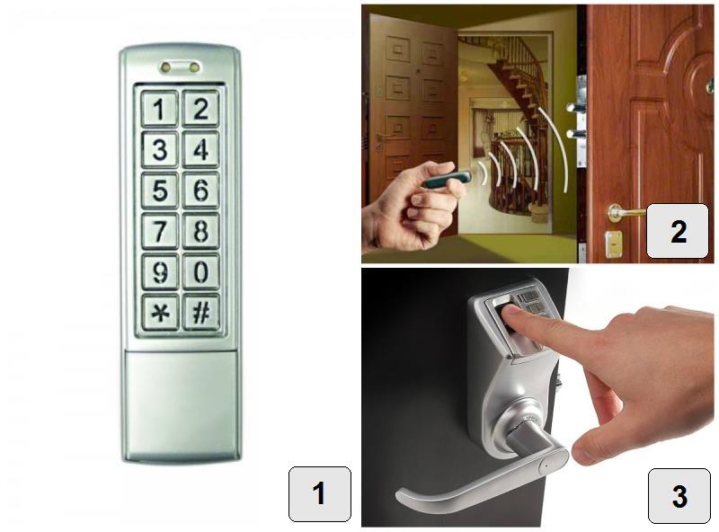 Устройства для открытия кодового электронного замка: 1 – кодовая панель; 2 – биометрический замок; 3 – замок-невидимка
