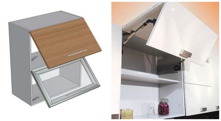 Лифтовые шкафчики удобны при расположении под потолком