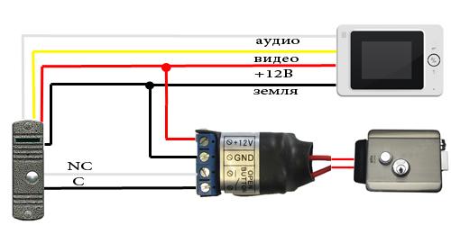 Присоединение к электромагнитному замку домофона с функцией видео