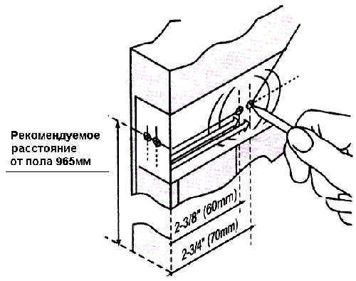 Нанесение основных линий для установки замка с использованием шаблона
