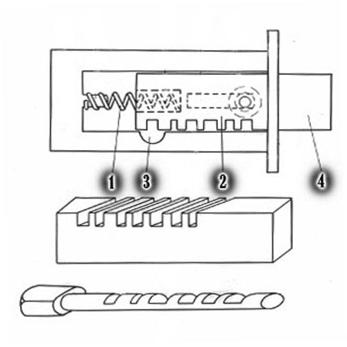 Внутреннее устройство запирающего механизма реечного типа