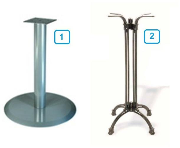 1 - стационарная опора для барной стойки; 2 - опора для передвижной стойки