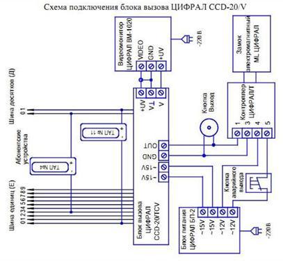 Схема подключения блока вызова домофона