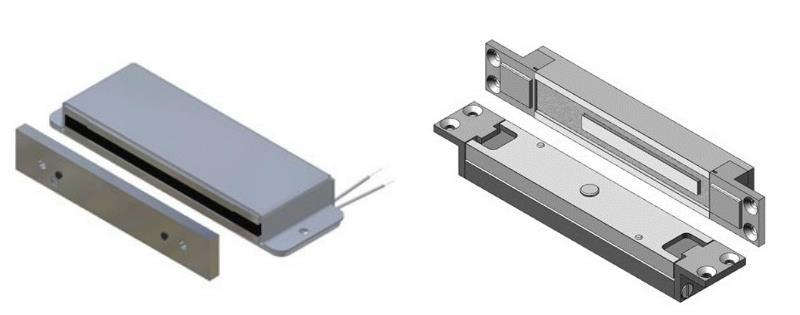 Варианты конструкции электромагнитного замка: удерживающий (слева) и сдвиговый (справа)