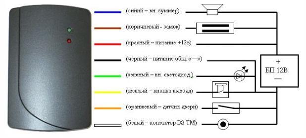 Схема подключения контроллера электромагнитного замка