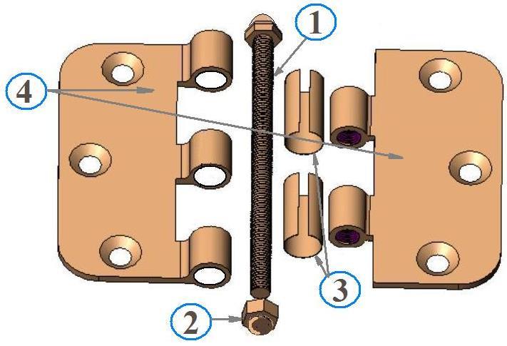 Механизм несъемного навеса: 1 — поворотная ось; 2 — декоративная заглушка; 3 — подшипники; 4 — карта