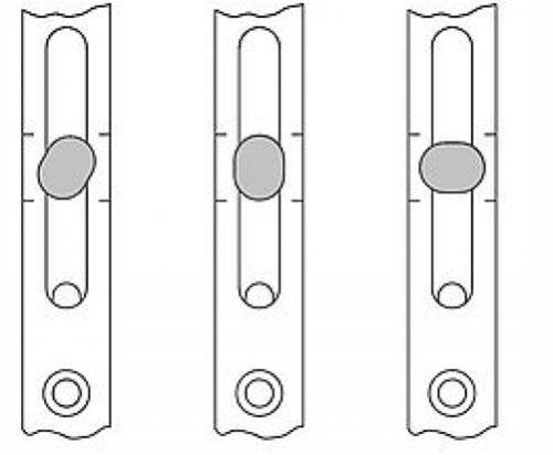 Слева направо: среднее, летнее и зимнее расположение овальной цапфы при регулировке прижима оконной створки