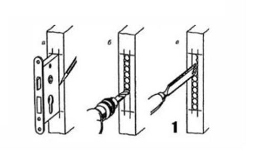 Подготовка отверстия для корпуса замка на деревянном окне