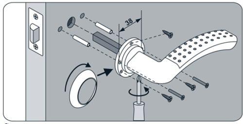 Схема монтажа ручки на межкомнатную дверь