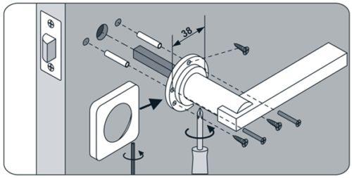 Схема установки ручки для дверной защелки