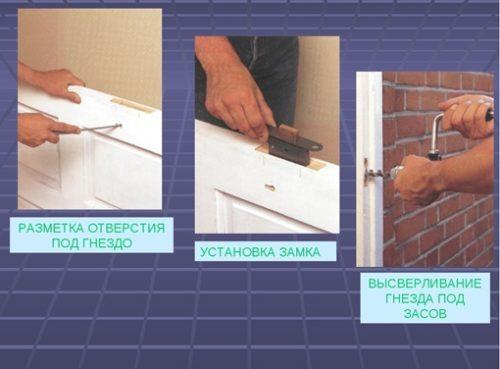 Процесс установки защелки врезного типа