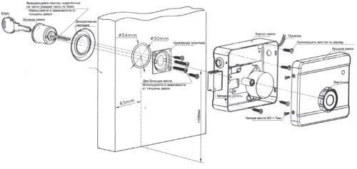 Подробная схема установки накладной защелки
