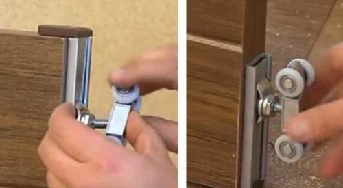 Крепление роликовых механизмов к дверному полотну