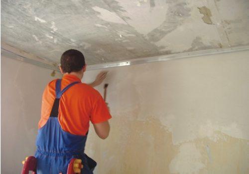 Крепление профилей для фиксации натяжного потолка