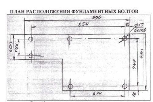 Пример расположения болтов в фундаменте