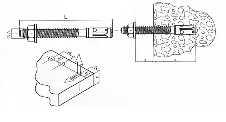 Принцип действия анкер-шпильки в основании из бетона