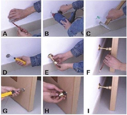Схема монтажа дверного стопора