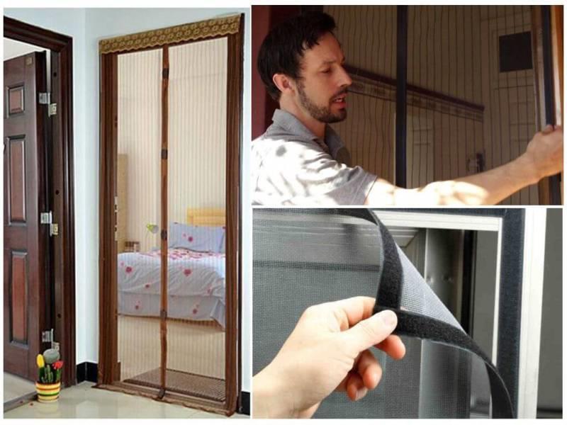 Фиксация магнитной шторы на двухсторонний скотч