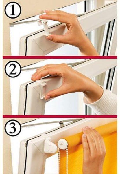 Процесс монтажа штор на открывающиеся окна