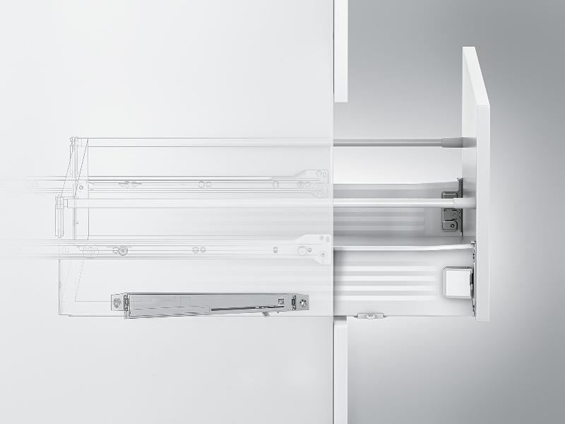 Ящик-метабокс с системой плавного закрывания на днище