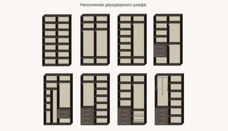 Варианты планировки двухдверного шкафа-купе