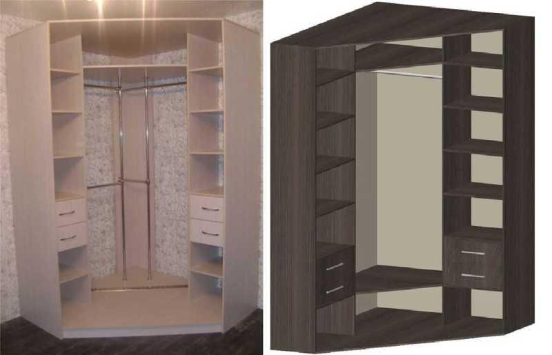 Оптимальное расположение принадлежностей в угловом шкафу-купе